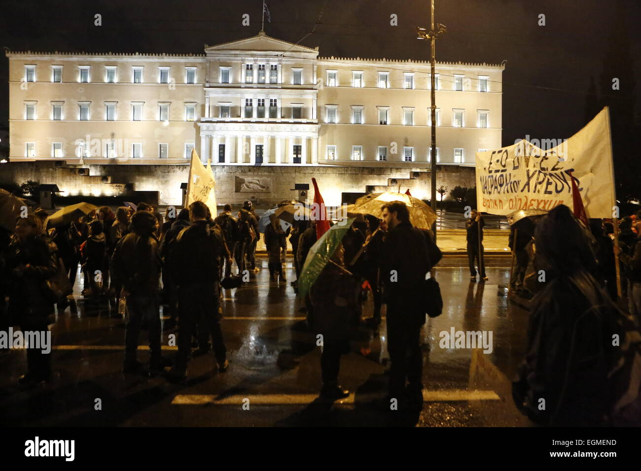 The protesters stand outside the Greek Parliament. Greeks from the left party ANTARSYA (Front of the Greek Anticapitalist - Stock Image