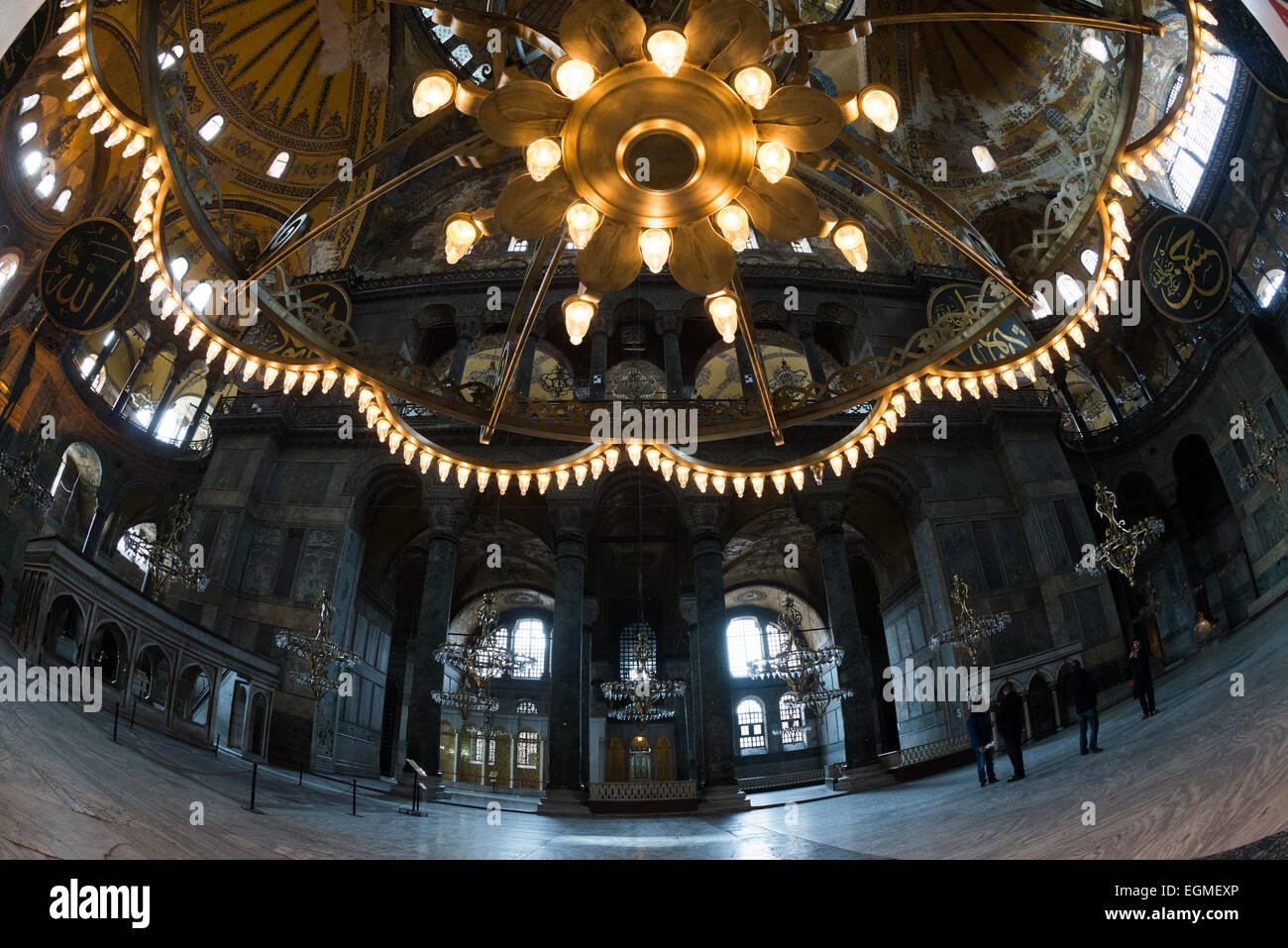 One of the large chandeliers hanging in hagia sophia in istanbul one of the large chandeliers hanging in hagia sophia in istanbul originally built in 537 it has served as an eastern orthodox cathedral a roman catholic aloadofball Images