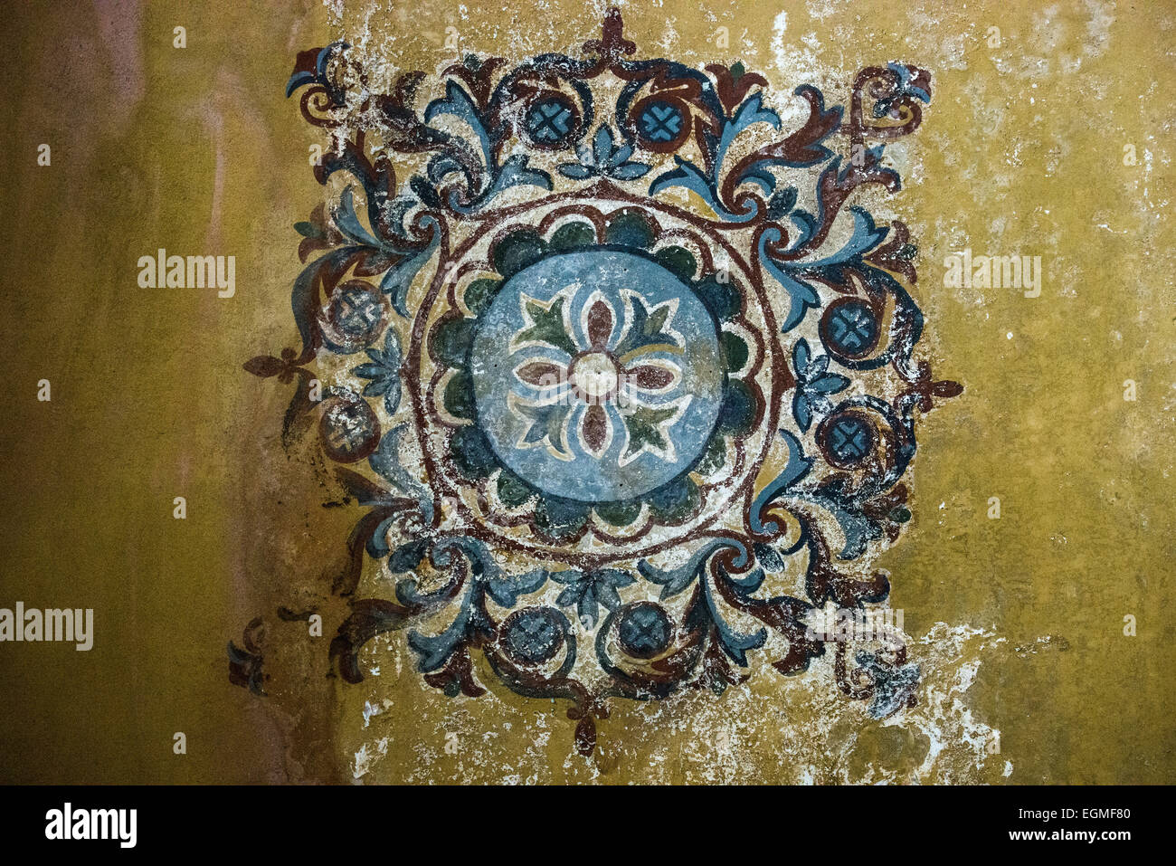 Painted decorations on the ceiling in the upper gallery of Hagia Sophia. Originally built in 537, it has served - Stock Image