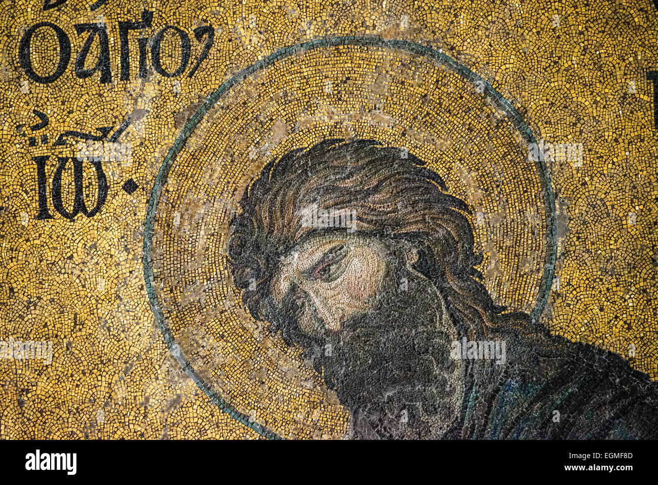 Dating to around 1261, the Deësis mosaic is located in the imperial closure of the upper galleries of Hagia Sophia. Stock Photo