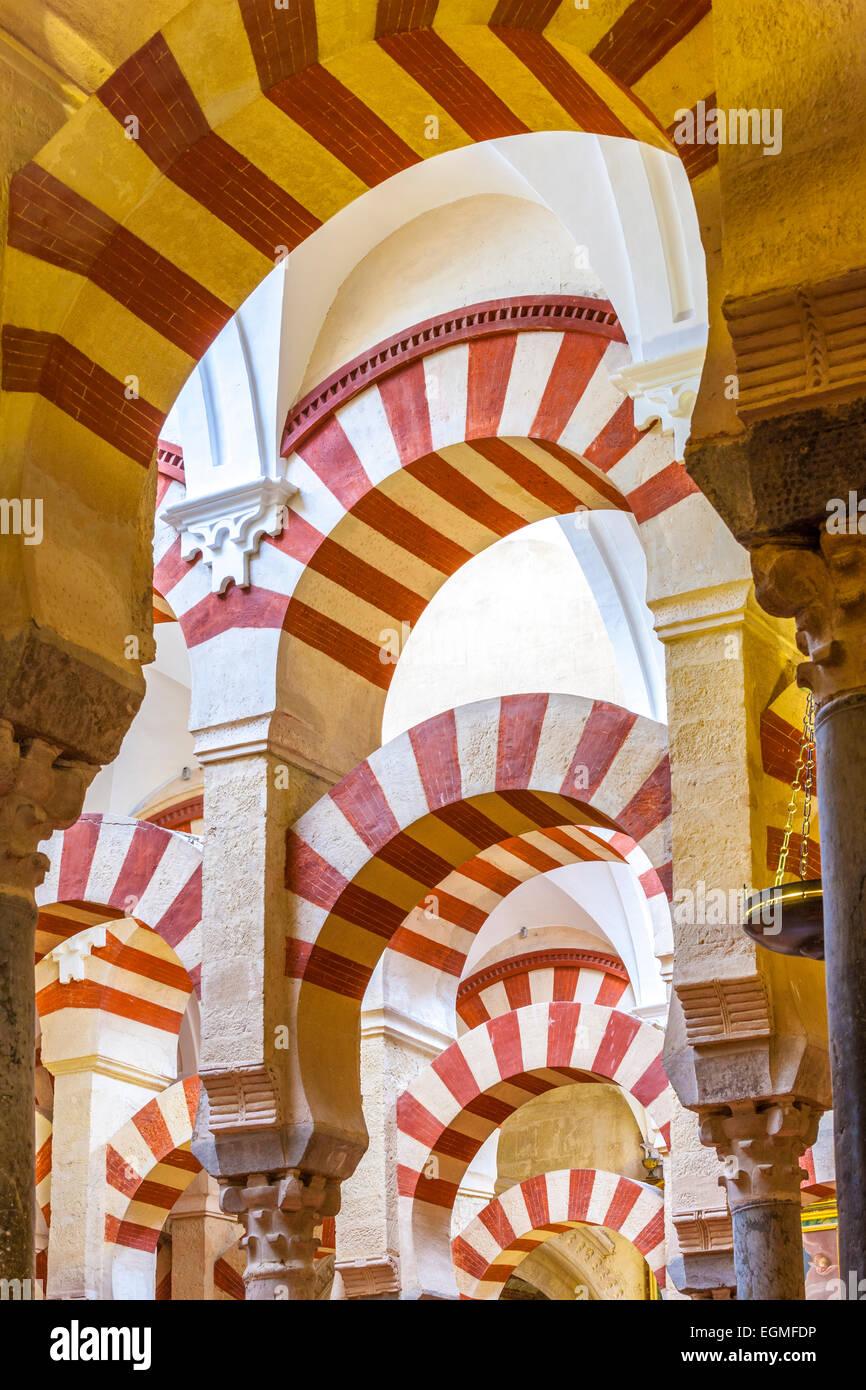 Cordoba Spain Great Mosque, Mezquita de Cordoba interior. - Stock Image