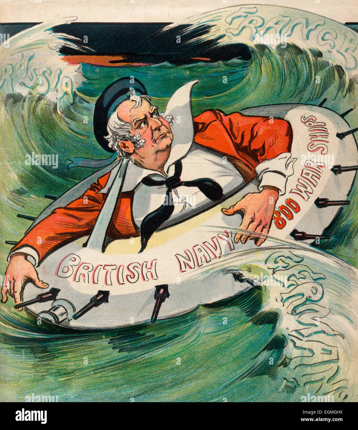 If He Has to take to water - Illustration showing John Bull as a sailor, floating in a life-preserver labeled 'British - Stock Image
