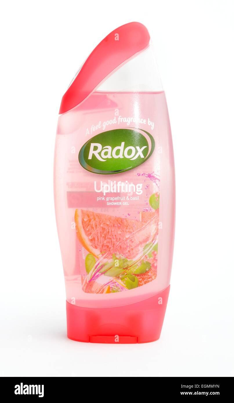 Radox shower gel uplifting pink grapefruit and basil - Stock Image