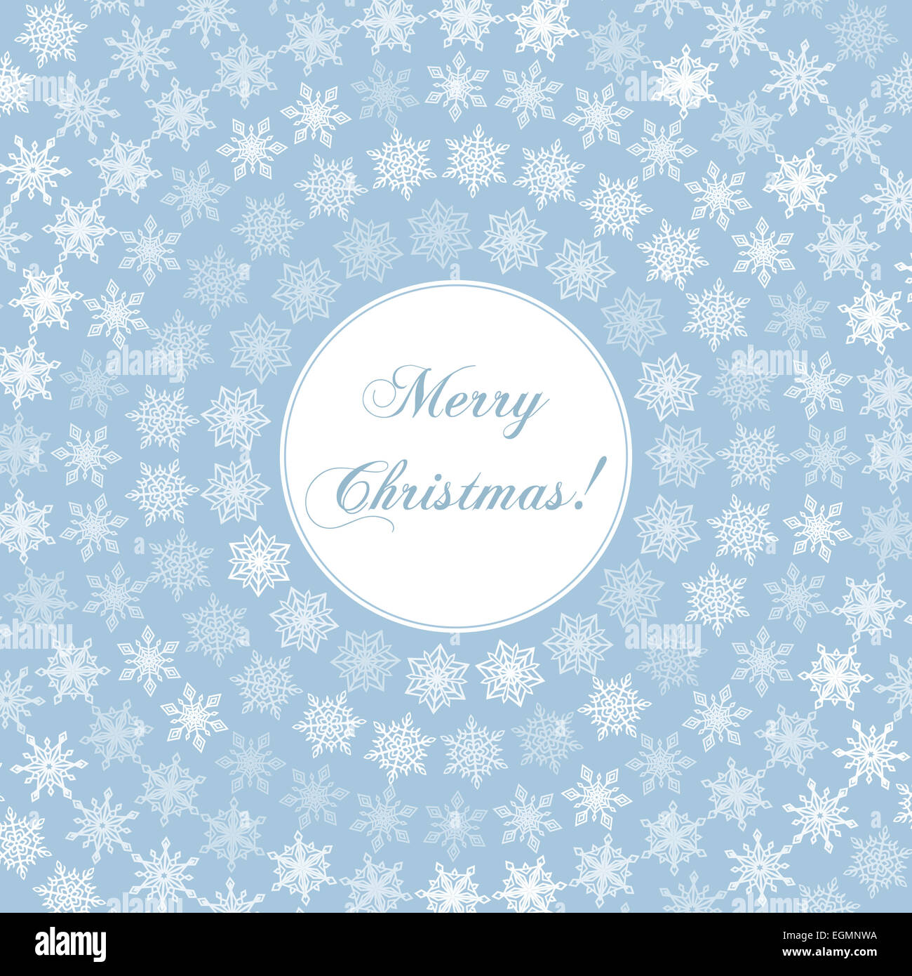 Delicate merry christmas greeting card with words on round and stock delicate merry christmas greeting card with words on round and circular fine white snowflakes on background of vintage pastel blue m4hsunfo