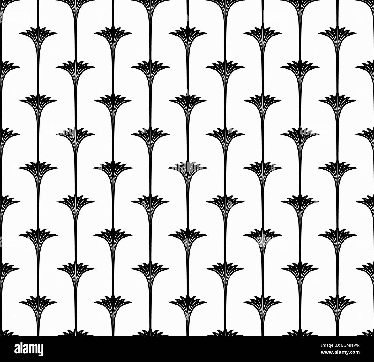 Elegant Black Floral Seamless Pattern from Simple Flowers with Long Stems on White Background - Stock Image