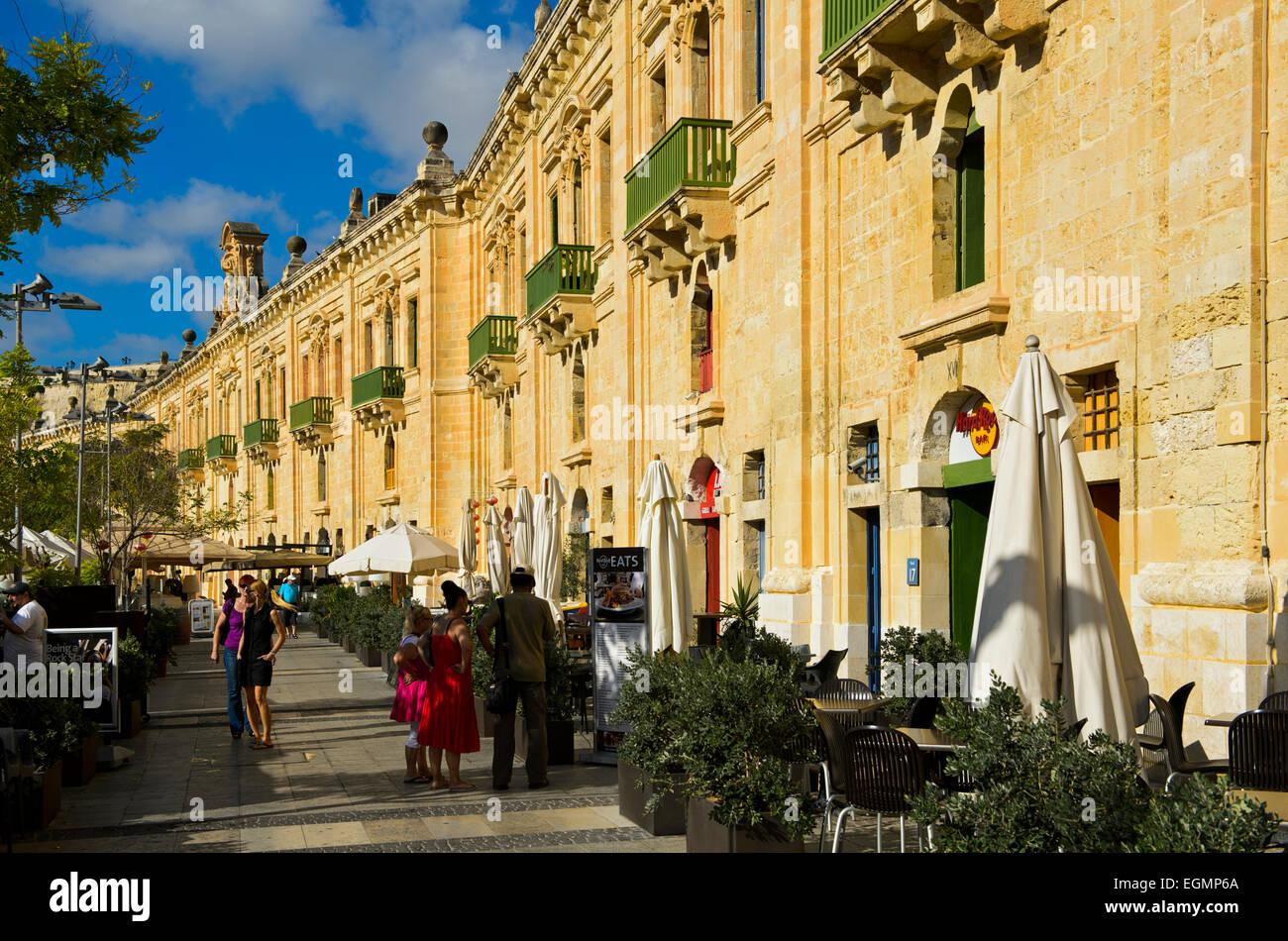 Restored historic warehouse buildings in the Valletta Waterfront, Valletta, Malta - Stock Image