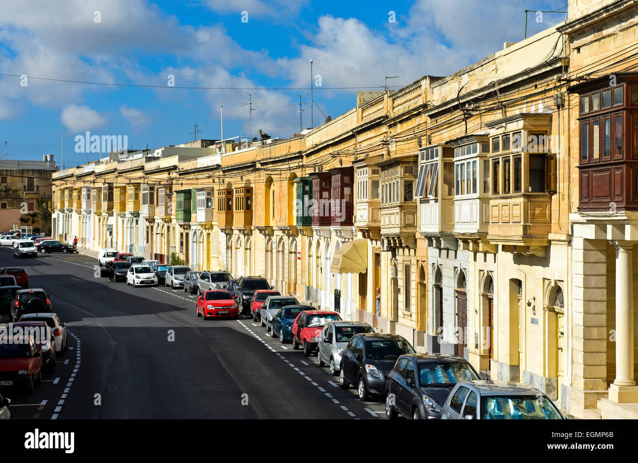 Traditional houses with bay windows, Valletta, Malta - Stock Image