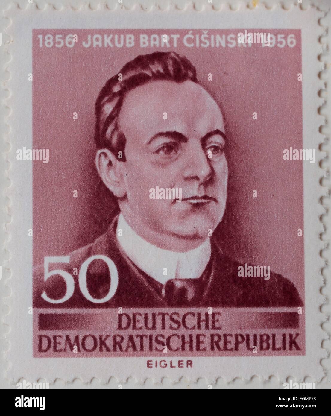 Jakub Bart-Ćišinski, portrait on a stamp, GDR, 1956 Stock Photo
