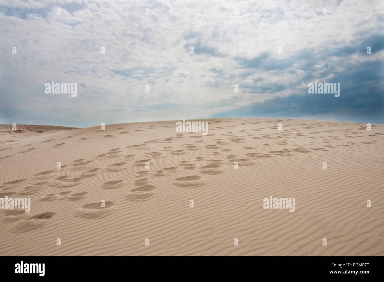 Footsteps in the sand at Raabjerg Mile near the Skaw, Denmark - Stock Image