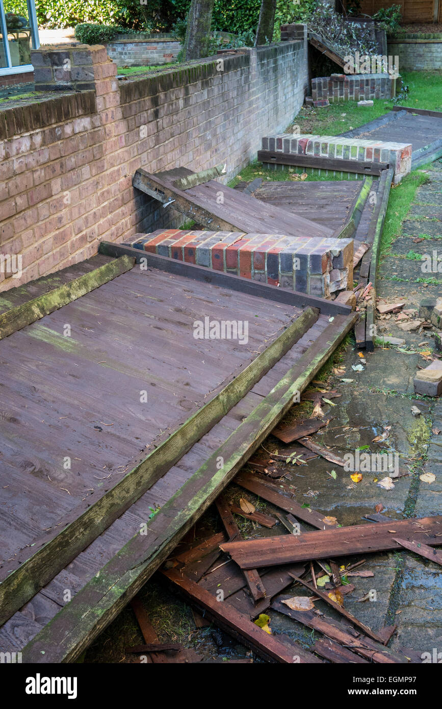 Storm damage wooden fence panels collapsed - Stock Image