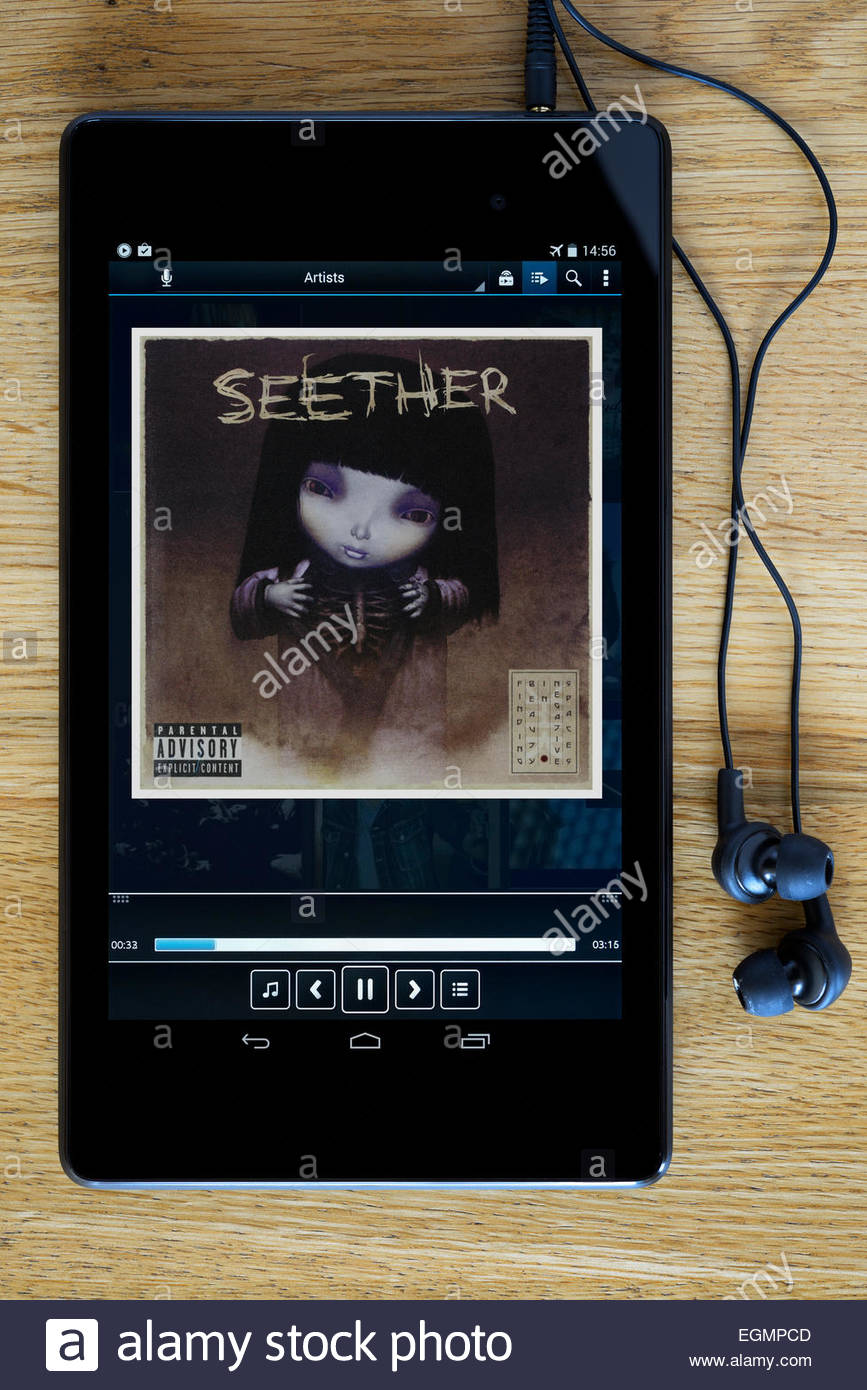 Seether 2007 album Finding Beauty in Negative Spaces, MP3 album art on PC tablet, England - Stock Image