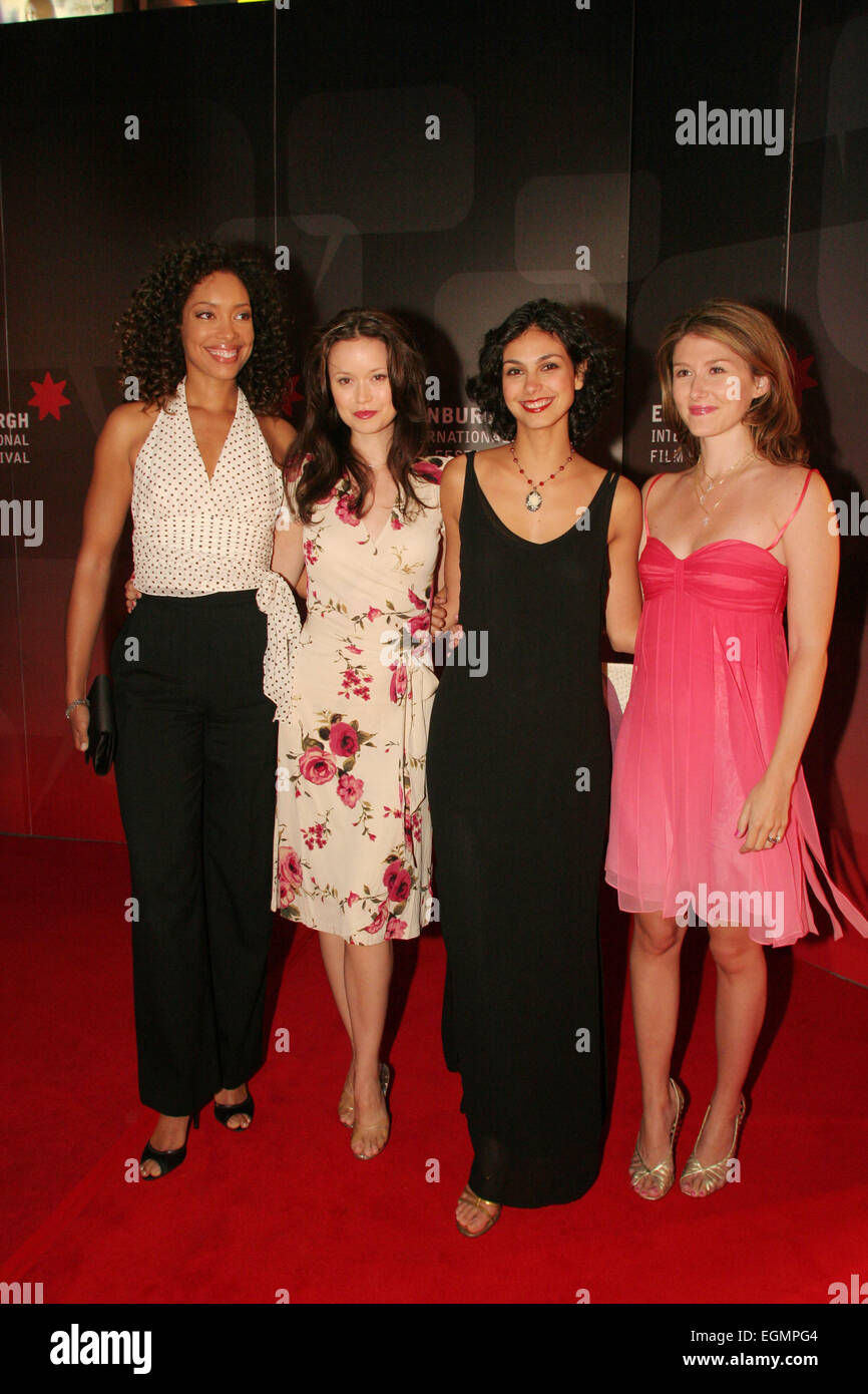 (l to r) GINA TORRES, SUMMER GLAU, MORENA BACCARIN, JEWEL STAITE, AT WORLD PREMIERE OF 'SERENITY' MOVIE, written Stock Photo