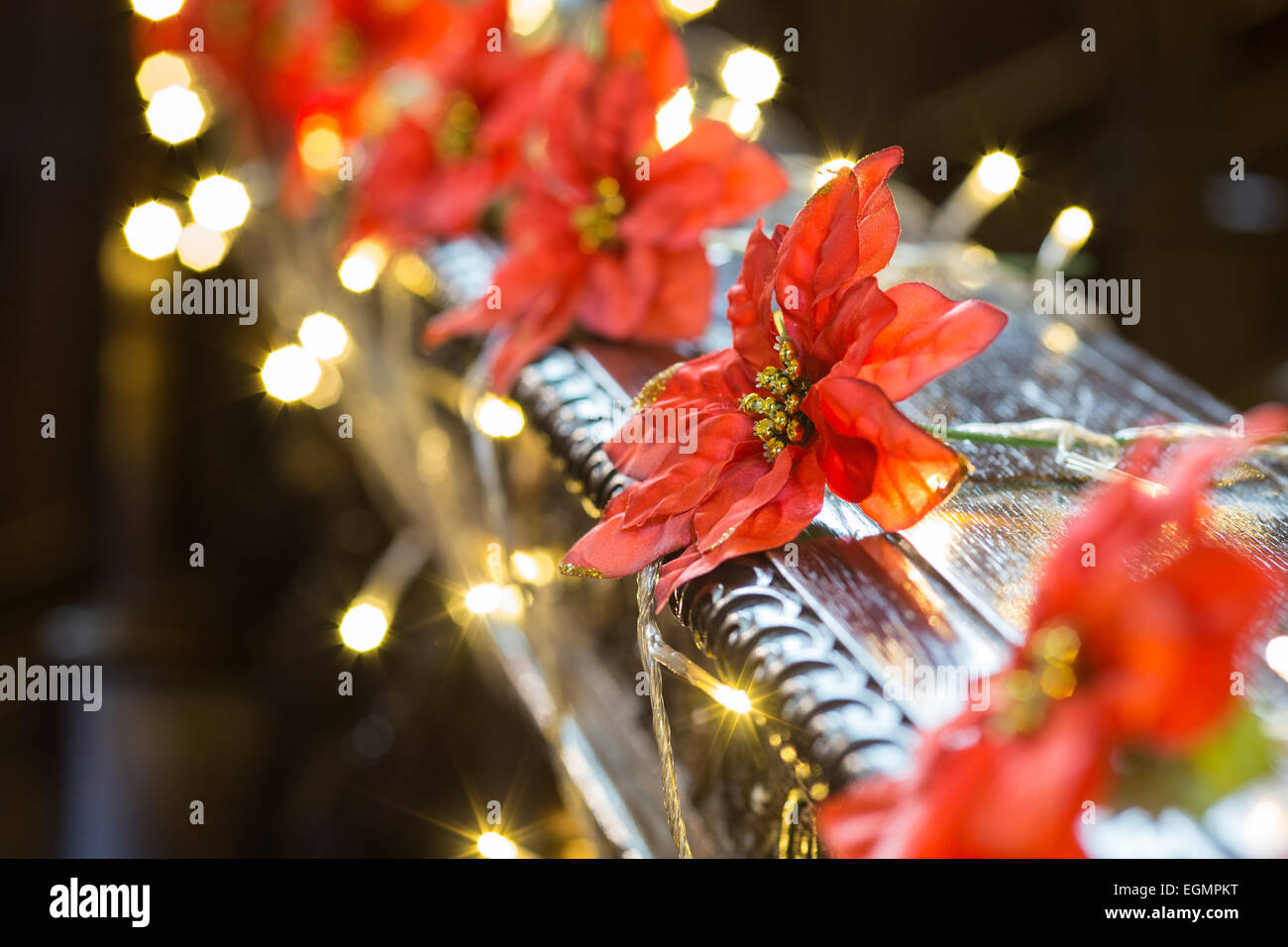 Picture of: Christmas Lights And Decorations On Stair Banister Stock Photo Alamy