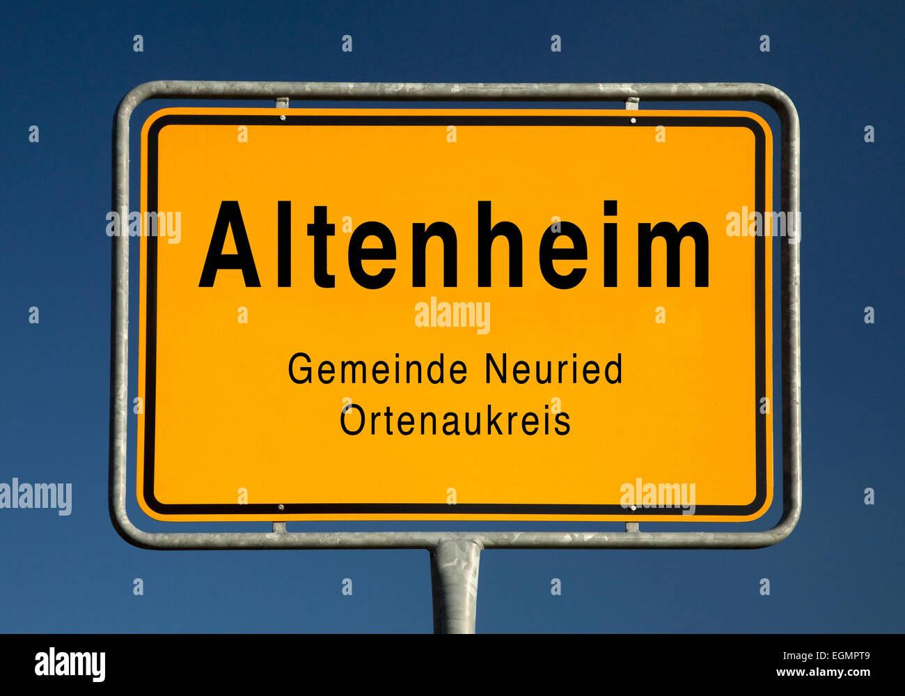 City limits sign of Altenheim, part of Neuried, Ortenaukreis, Baden-Württemberg, Germany Stock Photo