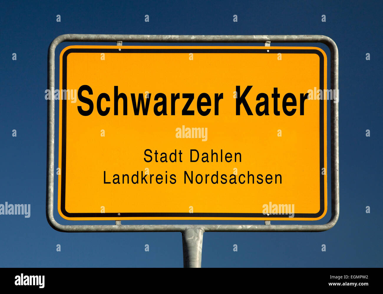 City limits sign of Schwarzer Kater, a district of the city Dahlen, Nordsachsen, Germany Stock Photo