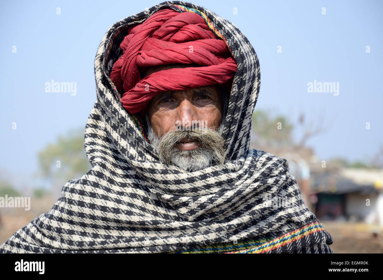 Indian village elder wearing a red turban and black and white scarf Kalpi  Village Rajasthan India 876a3394789