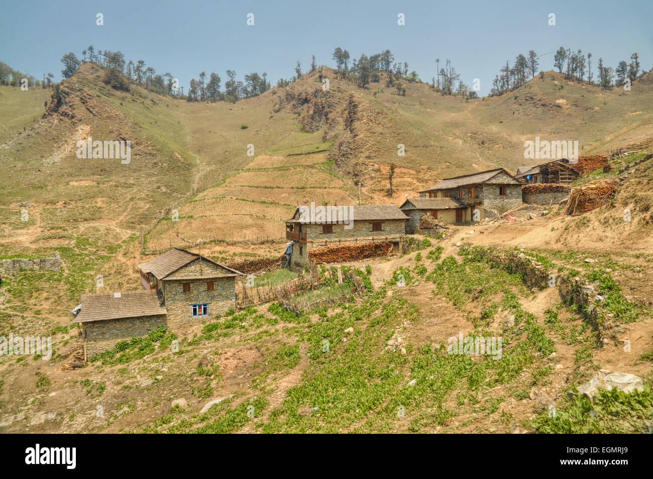 Picturesque view of old traditional Nepalese village - Stock Image