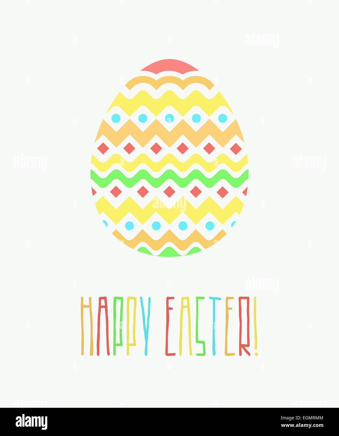 Colorful Happy Easter Greeting Card With Decorative Egg And Words On