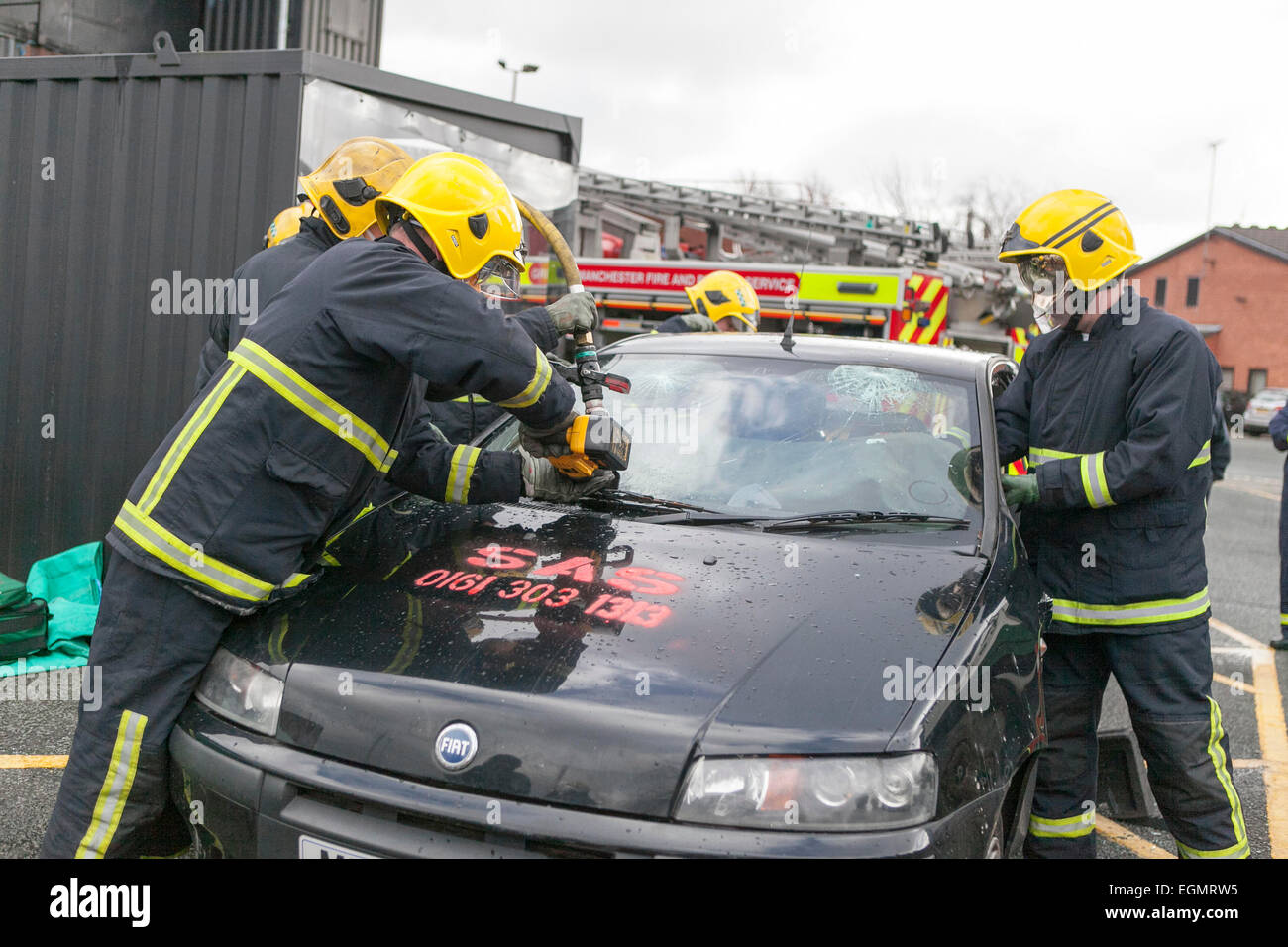 vehicle extraction training at Greater Manchester Fire and Rescue Service HQ. - Stock Image