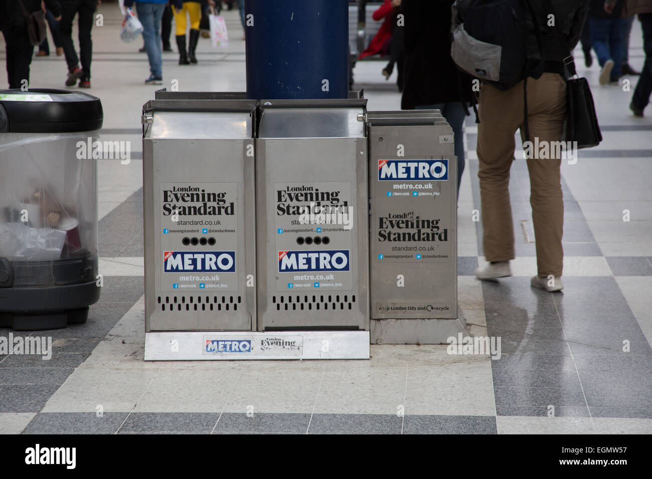 The London Evening Standard and Metro newspaper stands at ...