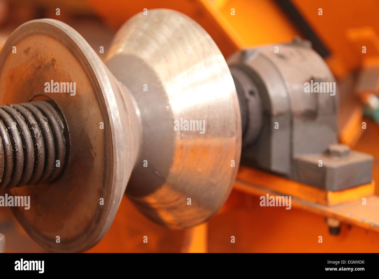 conic section steel rollers to move the workpiece - Stock Image