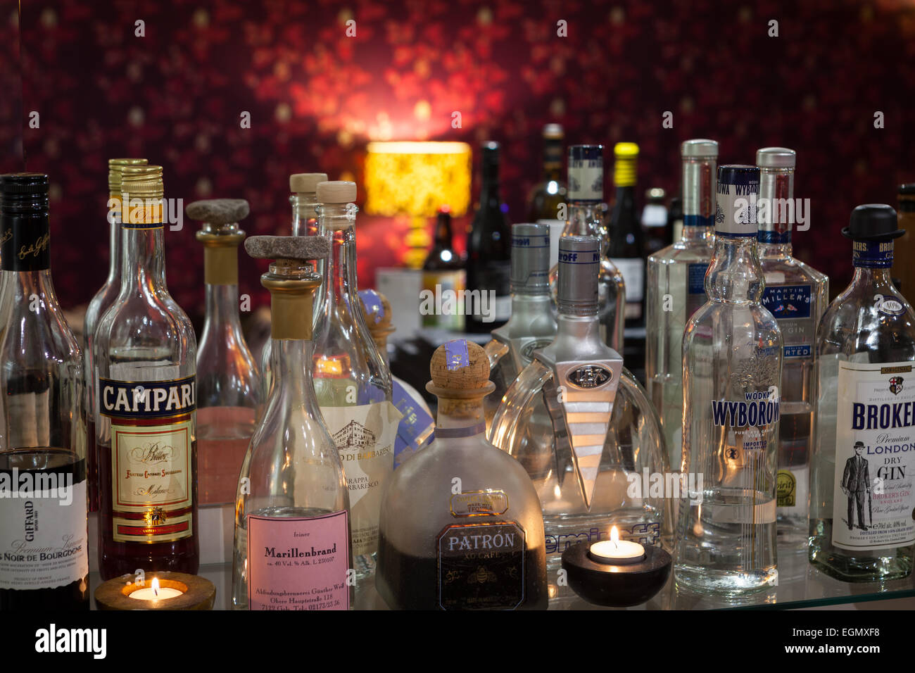 Bar stocked with spirits - Stock Image