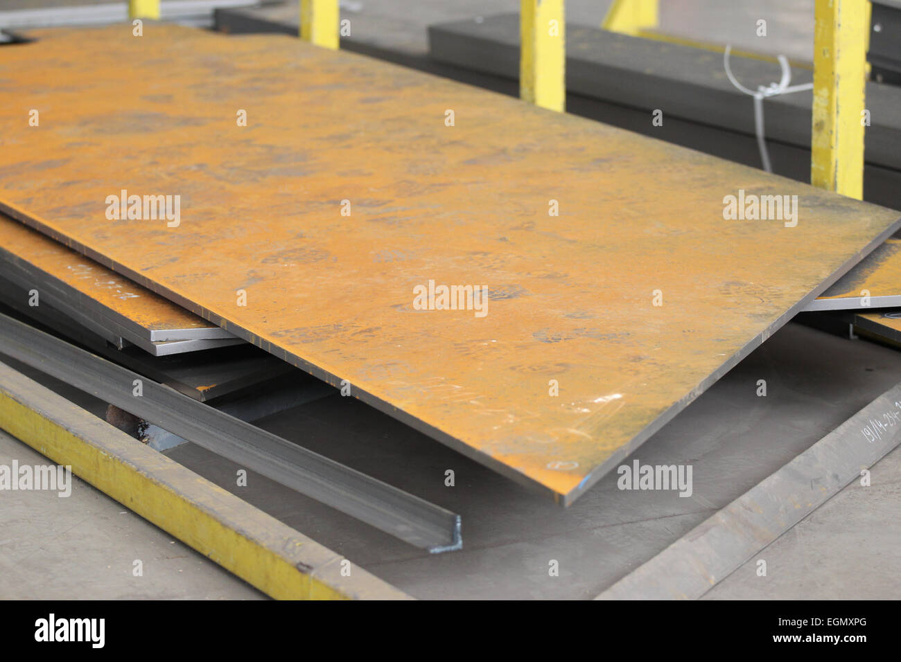 rusty metal sheet processing waits for metal - Stock Image