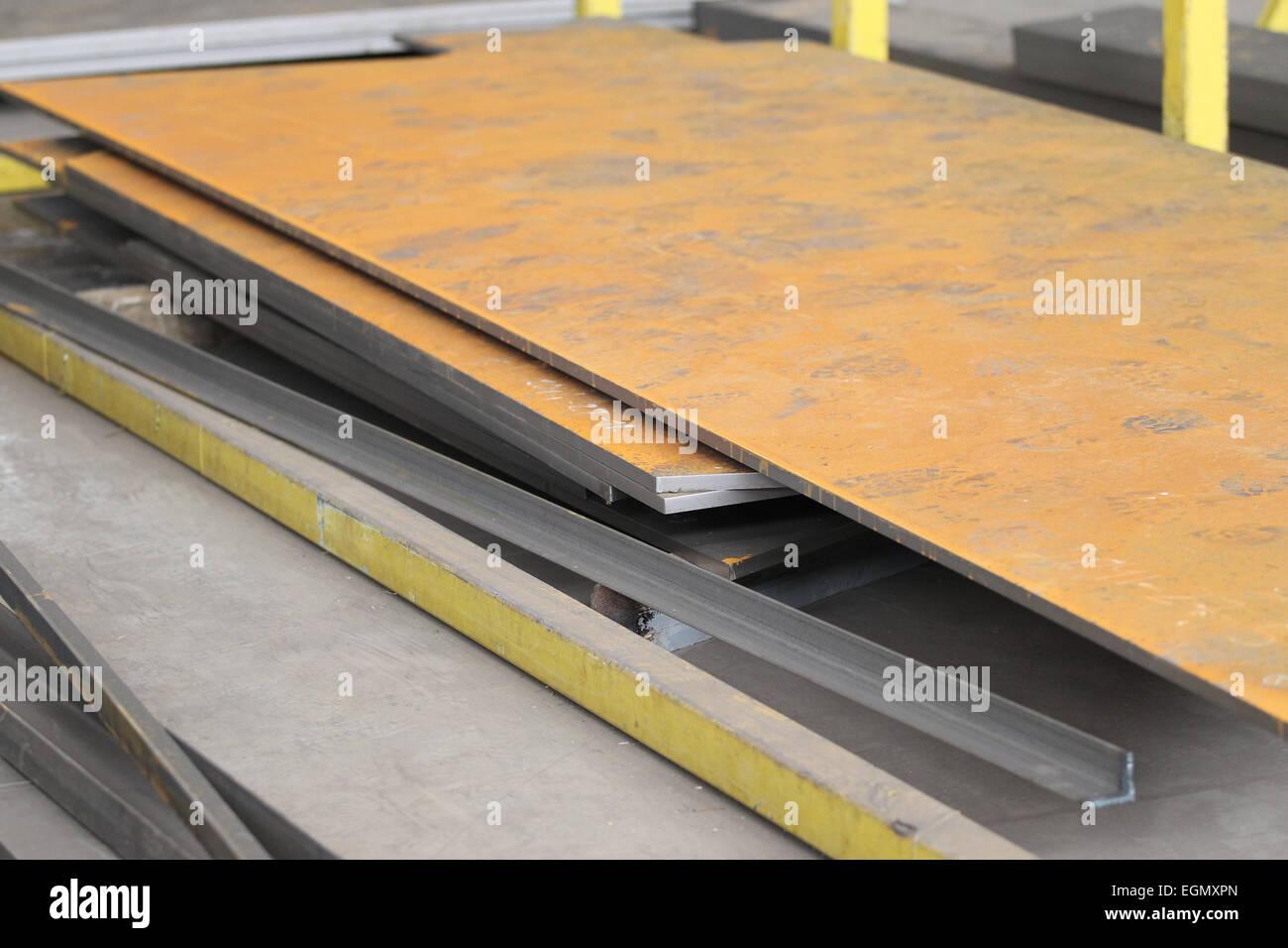rusty metal sheet processing waits for metal - Stock Image