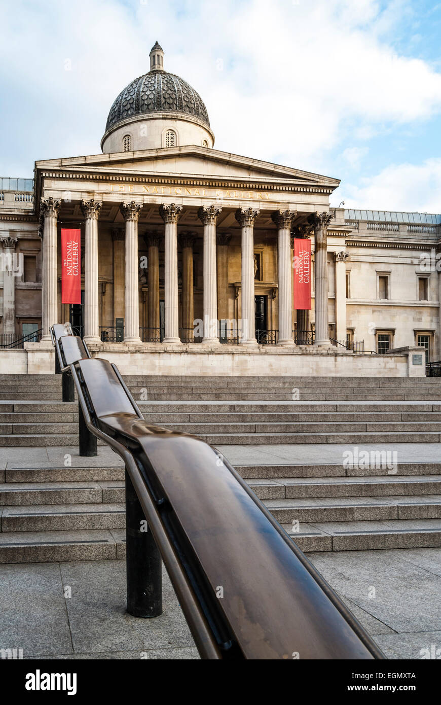 The National Gallery in London, one of the most visited art museums in the world, here on a quiet Sunday morning. Stock Photo