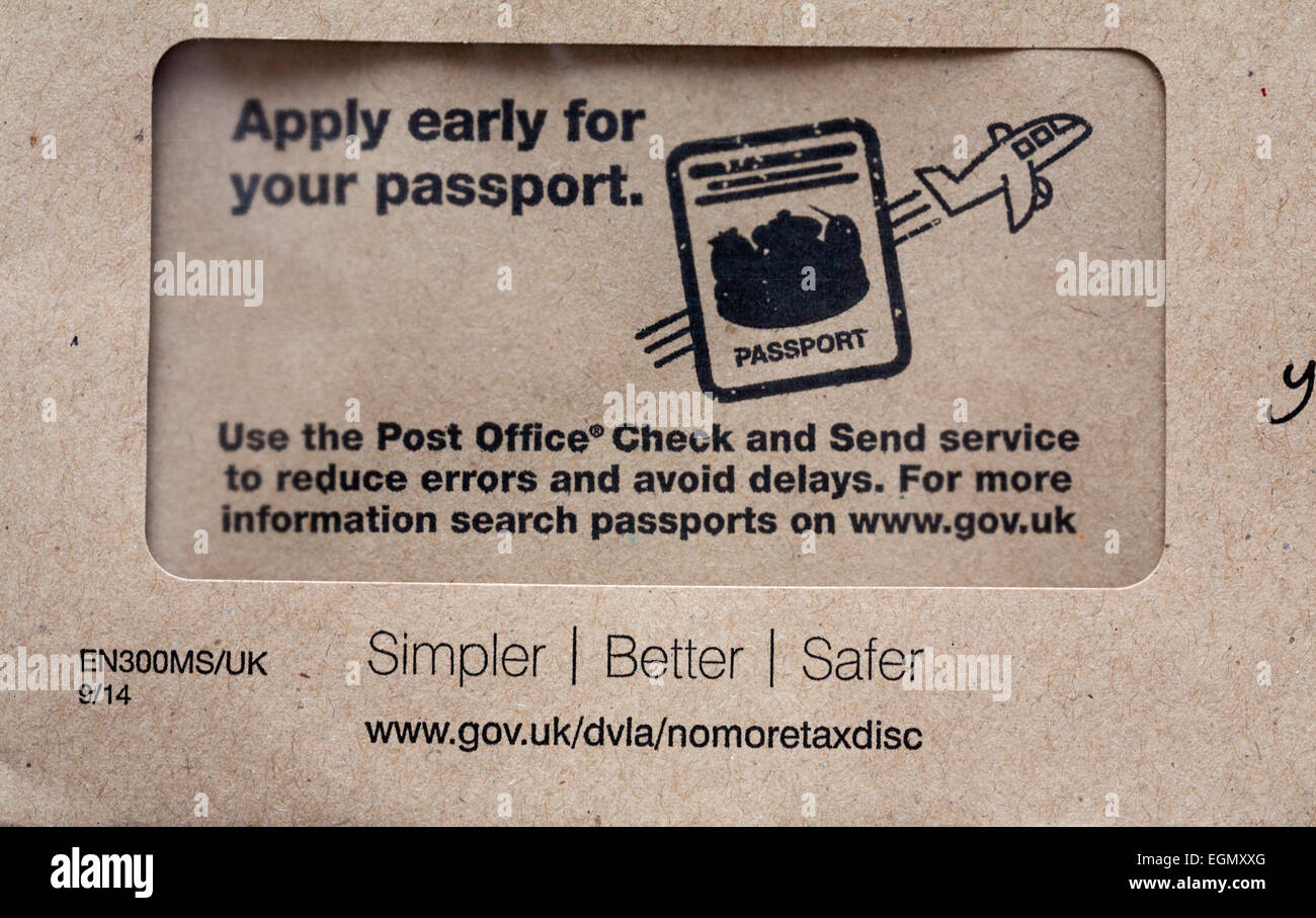 Apply early for your passport use the Post Office Check and Send service to reduce errors and avoid delays - information - Stock Image