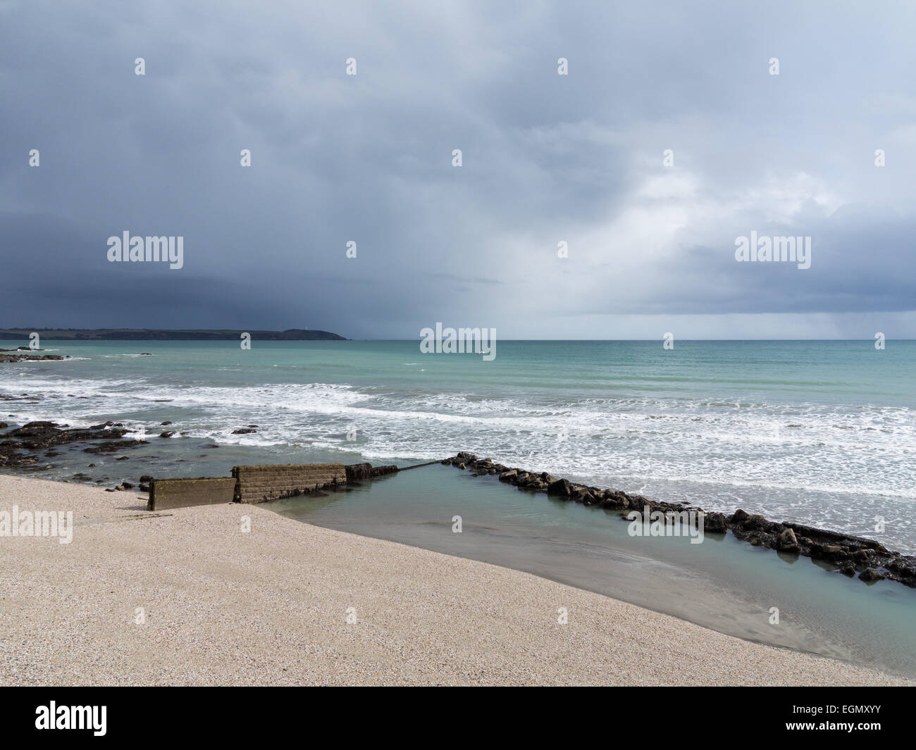 approaching storm at Charlestown, Cornwall - Stock Image