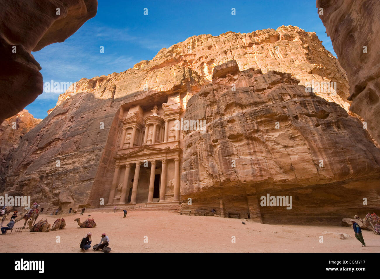 The treasury is also called Al Khazna, it is the most magnificant and famous facade in Petra Jordan - Stock Image