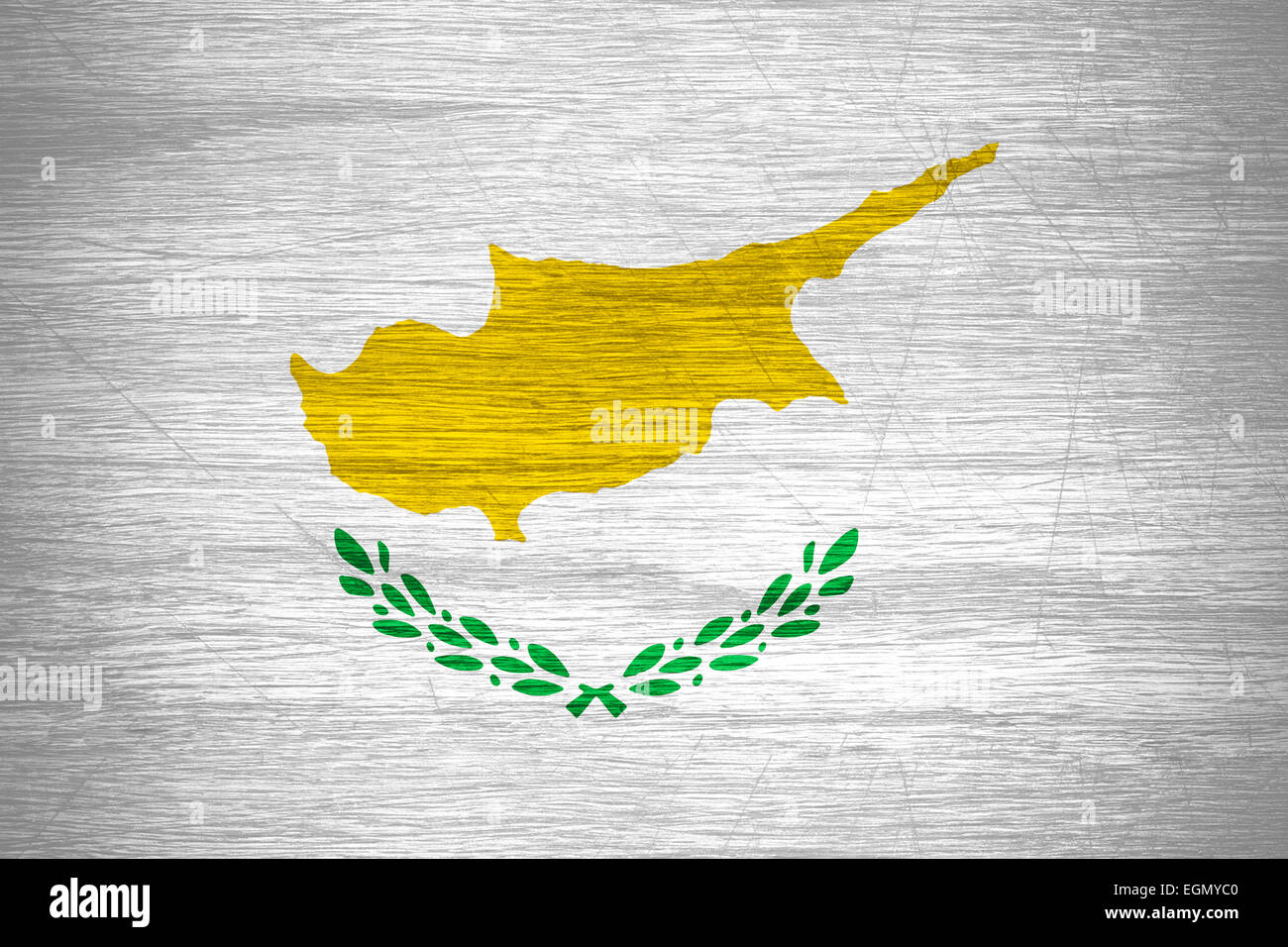 Cyprus flag or banner on wooden texture - Stock Image