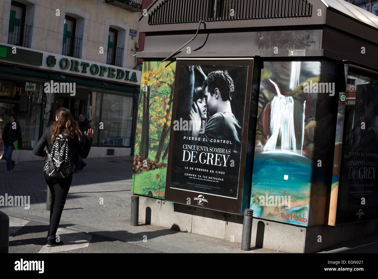 Fifty shades grey film poster spanish version - Stock Image