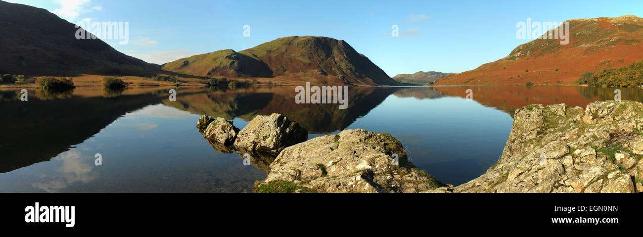Crummock water and Mellbreak. Winter afternoon in the Buttermere valley, English lake district. Lake district panorama Stock Photo