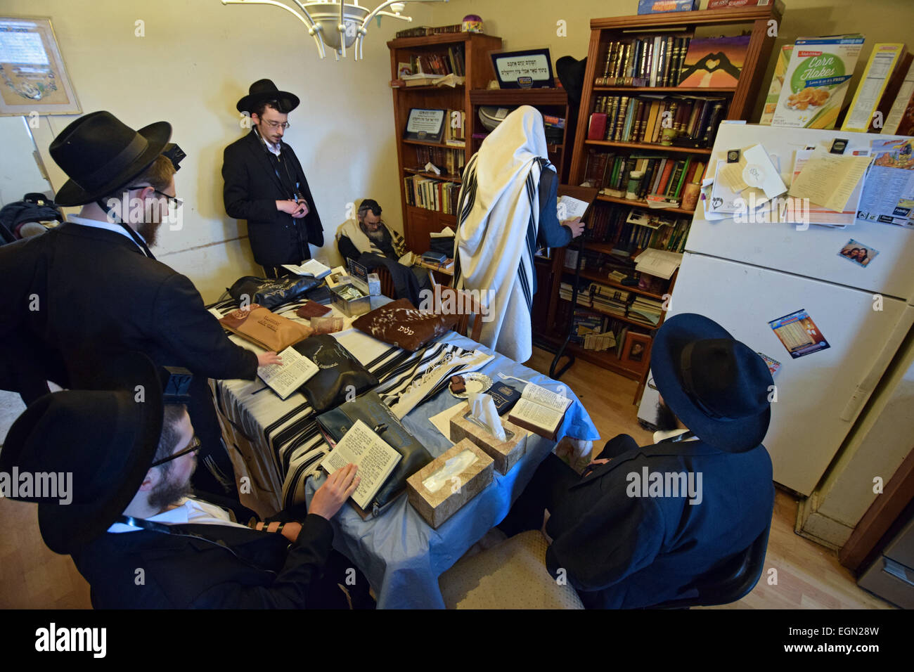 Orthodox jewish prayer services in the basement of a for Kosher home