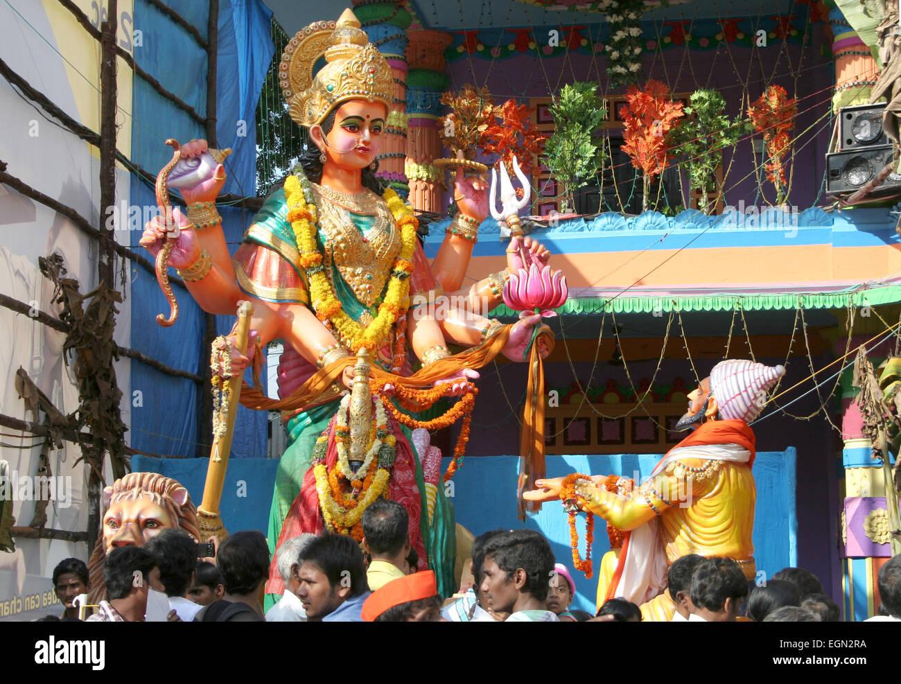 Shivaji offering prayer to durga during ganesh chathurthi Hindu festival,khairatabad,on 28,September 2012 in Hyderabad,India. Stock Photo