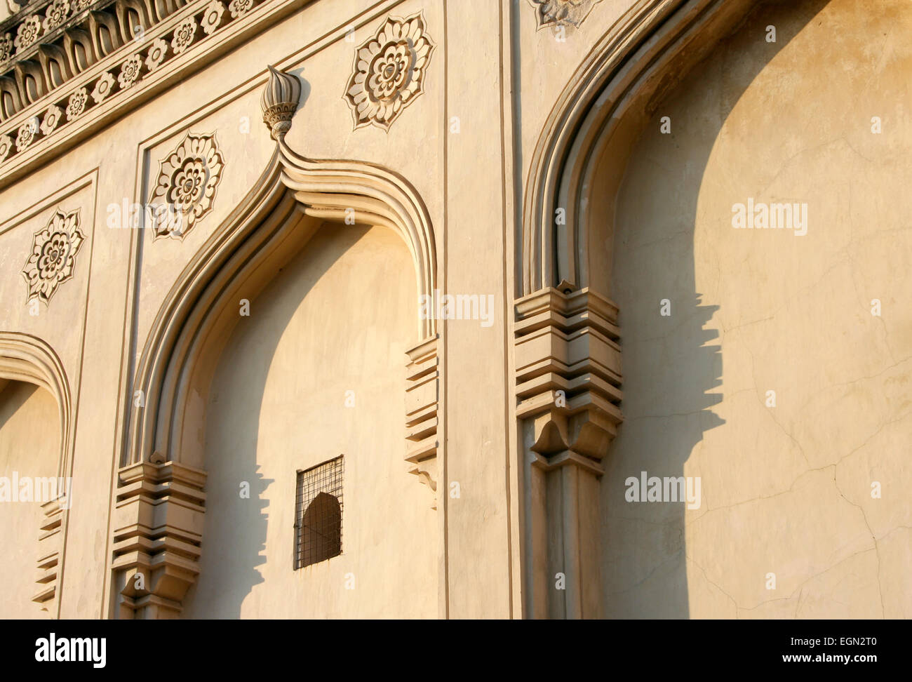 Qutub Shahi dynasty architectural traditions of Qutub Shahi tombs built in 1500's near famous Golkonda Fort - Stock Image