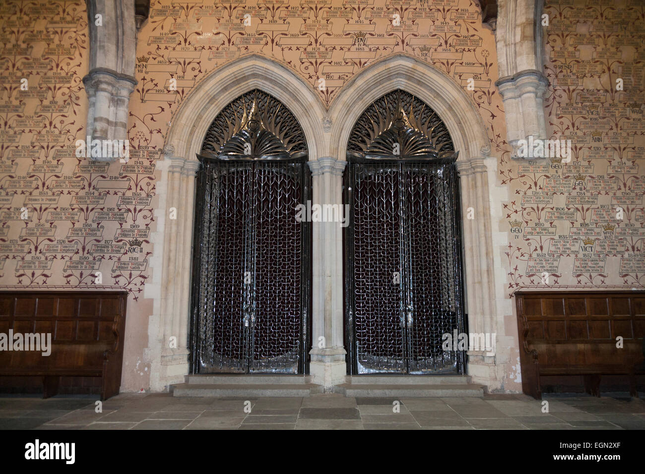 Wrought steel gate / gates to arched doors / doorways. Great Hall, Winchester Castle. Winchester, Hampshire. UK - Stock Image