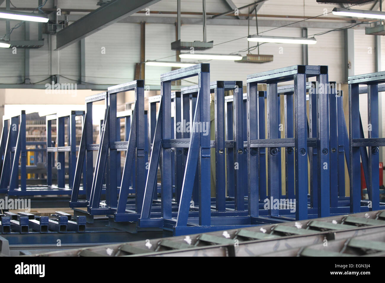 various elements of steel structures for further assembly - Stock Image