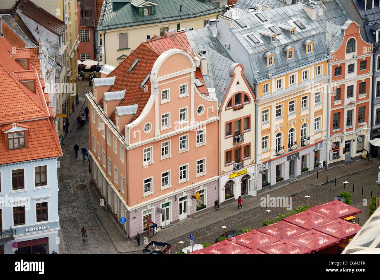 Riga, Latvia. Part of old city centre UNESCO World Heritage Site. Houses on Tirgonu iela from the spire of St. Peter's - Stock Image