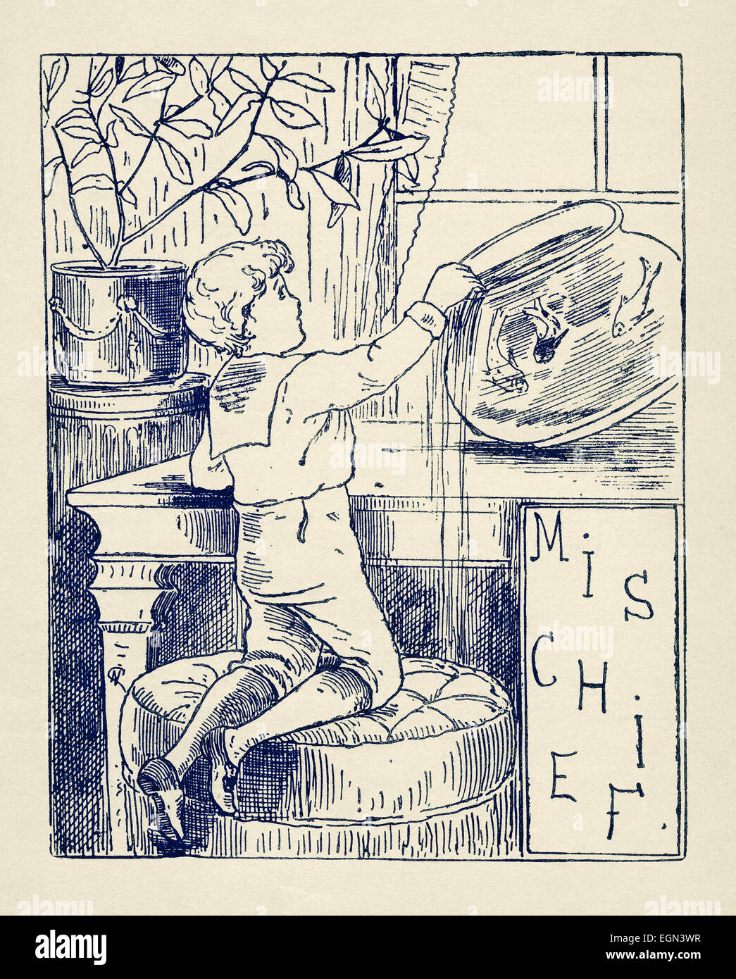 Victorian book illustration of of 1877 showing a boy up to 'mischief', tipping over a goldfish bowl - Stock Image