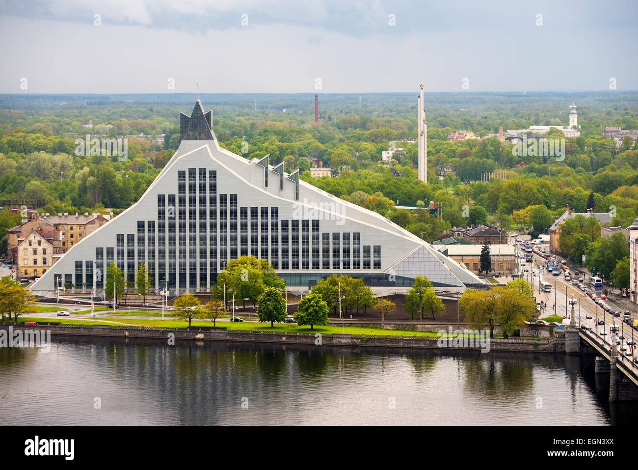 Riga, Latvia. The Latvian National Library seen after completion in summer 2014. SW across the Daugava River - Stock Image