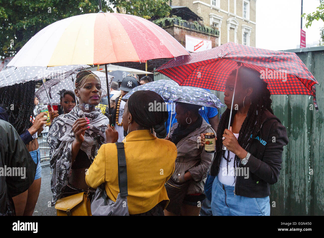 Rain poured on London Notting Hill Carnival 2014 Featuring: Atmosphere Where: London, United Kingdom When: 25 Aug Stock Photo