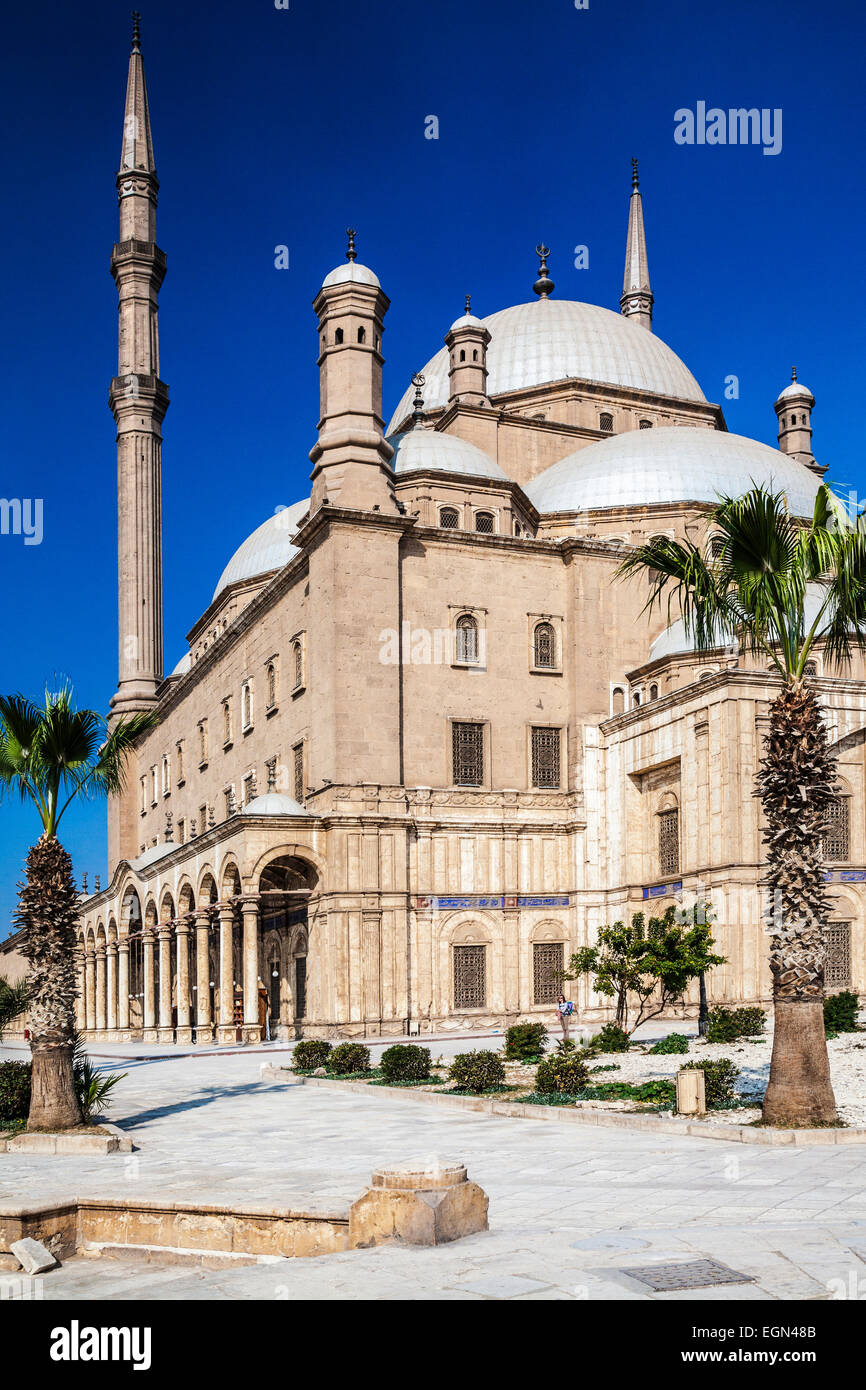 The domes of the great Mosque of Muhammad Ali Pasha or Citadel Mosque in Cairo. - Stock Image