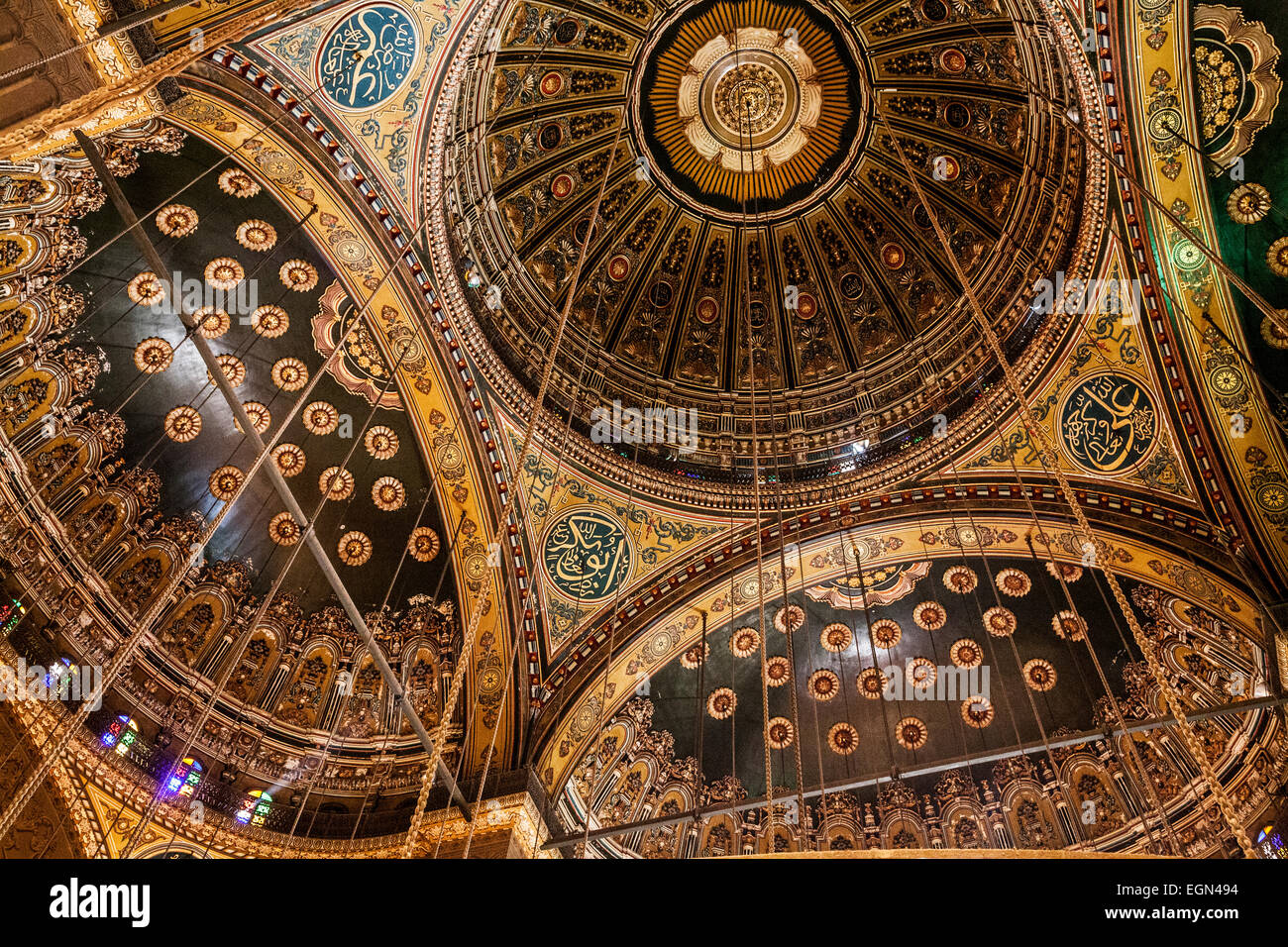 Inside the cupolas of the great Mosque of Muhammad Ali Pasha or Citadel Mosque in Cairo. - Stock Image