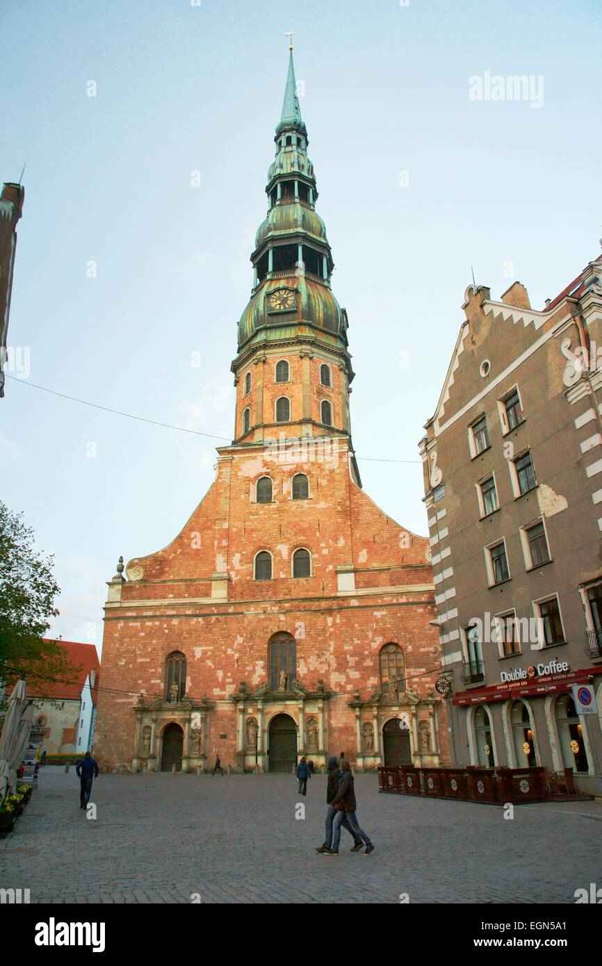 Riga Latvia. St. Peters Church from Town Hall Square - Stock Image
