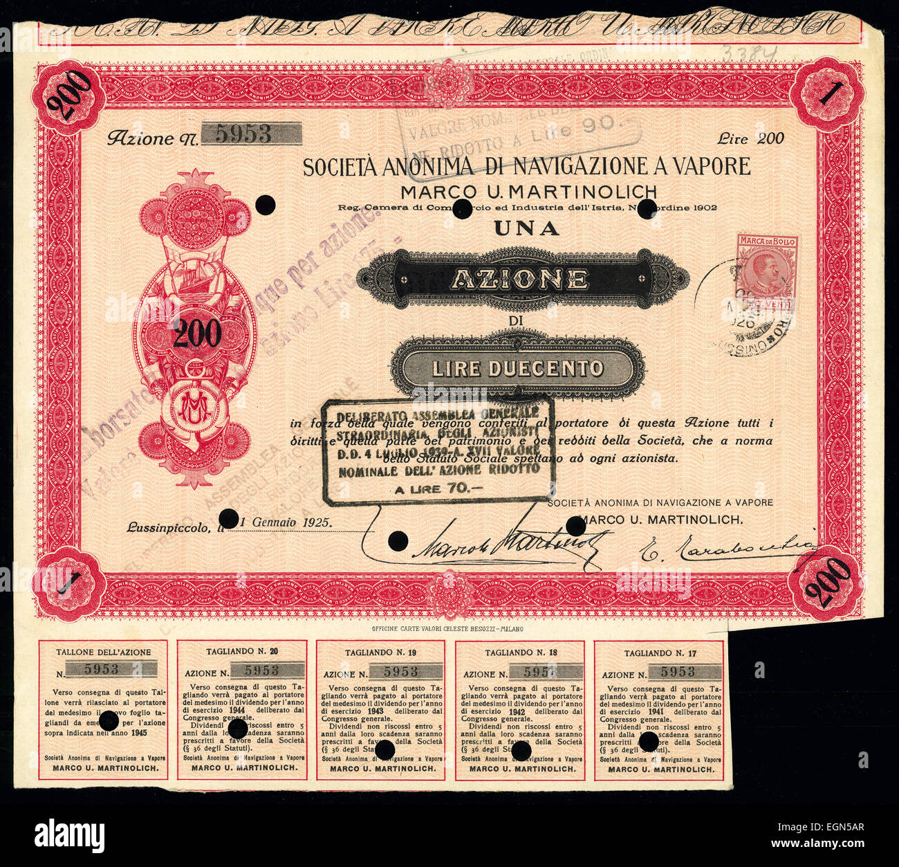 Stock certificate of Italian Societa anonima di navigazione a vapore azione - Stock Image