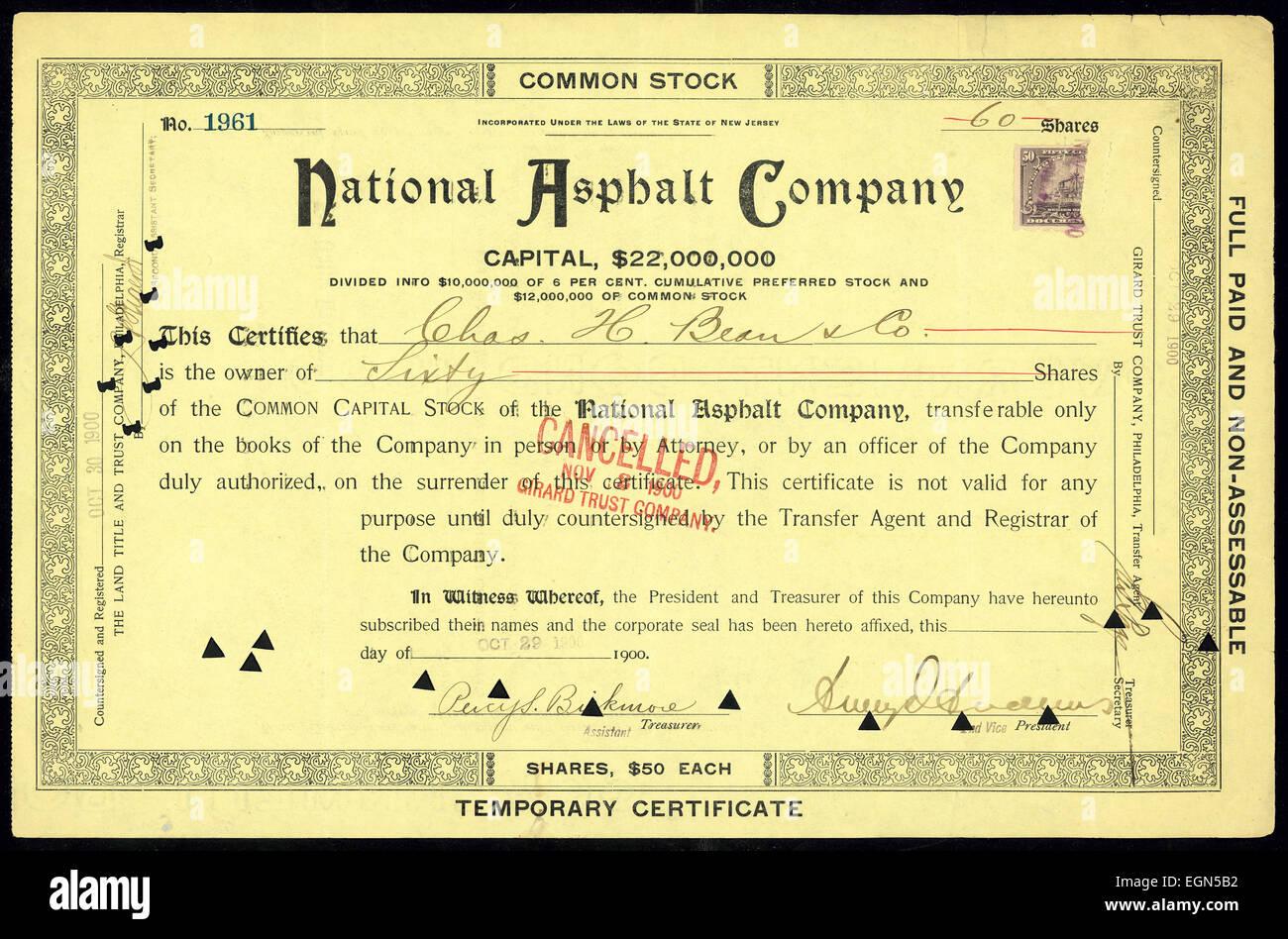 Common Capital Stock of National Asphalt Company - Stock Image