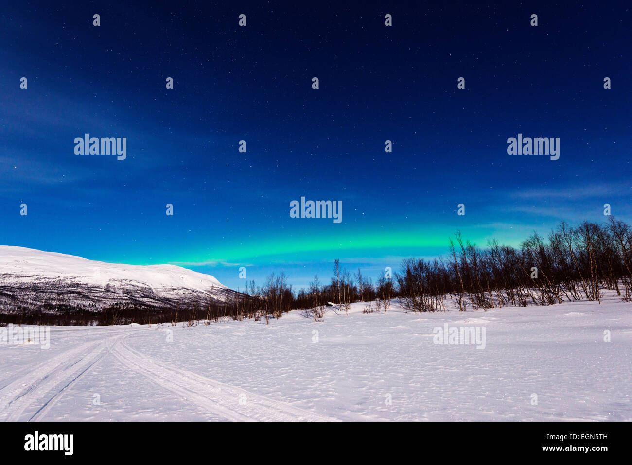 Arctic cirlcle, Europe, Lapland, Scandinavia,  Sweden, Abisko National Park,  aurora borealis, northern lights - Stock Image